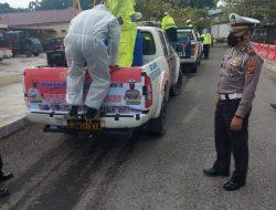 Sambut HUT Bhayangkara ke-75,Satlantas Polres Serdang Bedagai Laksanakan Penyemprotan Disenfektan Secara Massal